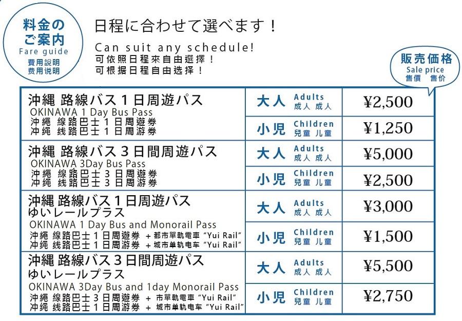 沖縄路線バス 周遊パス(券) 料金表