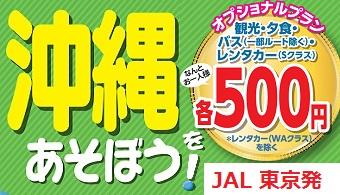 大好評!充実の500円オプション付!JALパック 沖縄をあそぼう!沖縄本島コース|東京発