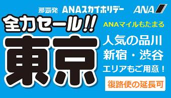 全力セール東京|那覇発 ANA 東京ホテルパック  1泊付~3泊付