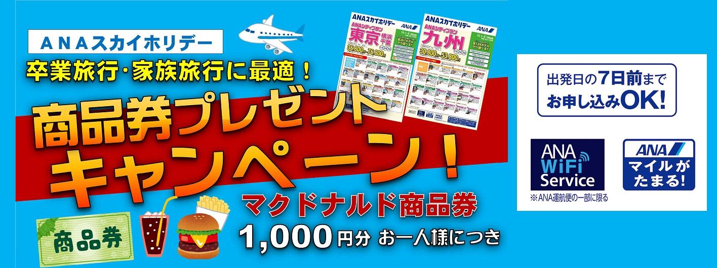 【キャンペーン】ANAスカイホリデー。マクドナルド商品券プレゼント!