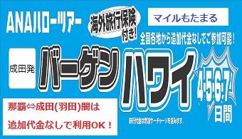 ANAで行く、バーゲンハワイ(成田発)!。沖縄からも追加代金なしで参加可!