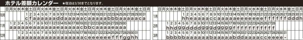 ホテル差額カレンダー 久米島フリープラン 那覇発JTA・RACで行く久米島ホテルパック  1泊~2泊付【JTAP】