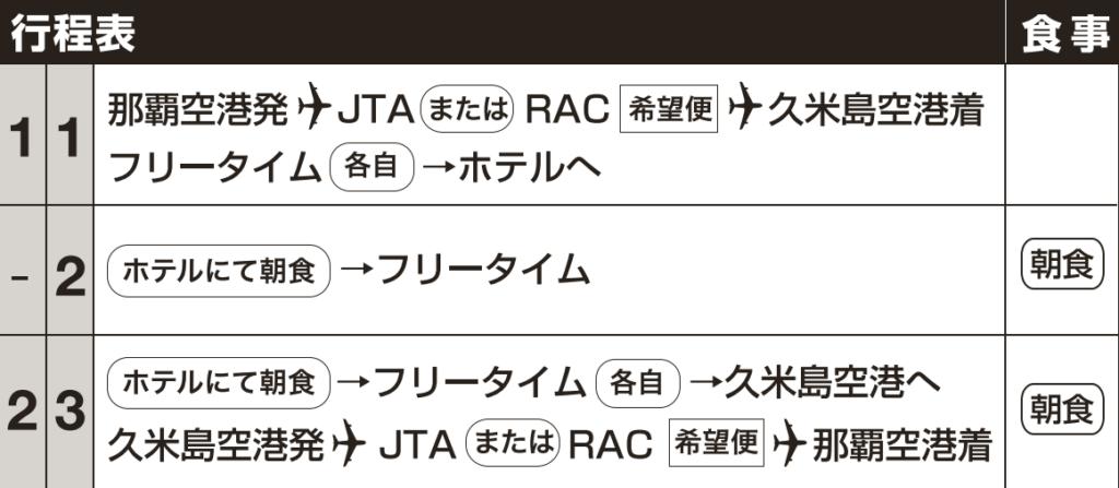行程表 久米島フリープラン 那覇発JTA・RACで行く久米島ホテルパック  1泊~2泊付【JTAP】