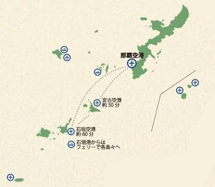 那覇発 石垣島と宮古島 2島めぐり マップ