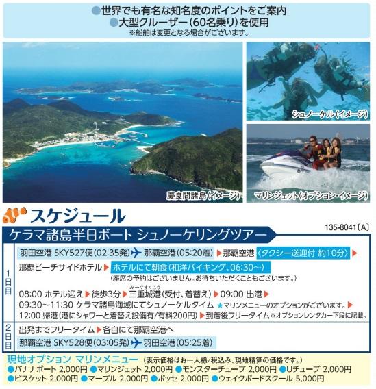 SKYパック 深夜便利用 ケラマ諸島半日ツアー