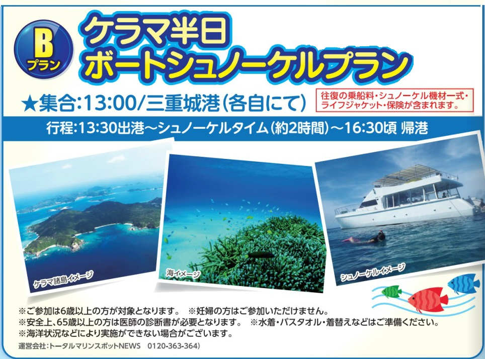 レンタカー付き!クルーザーで行くケラマ諸島半日ボートシュノーケリングプラン【B】