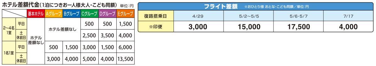 GOGO東京 ホテル差額追加代金